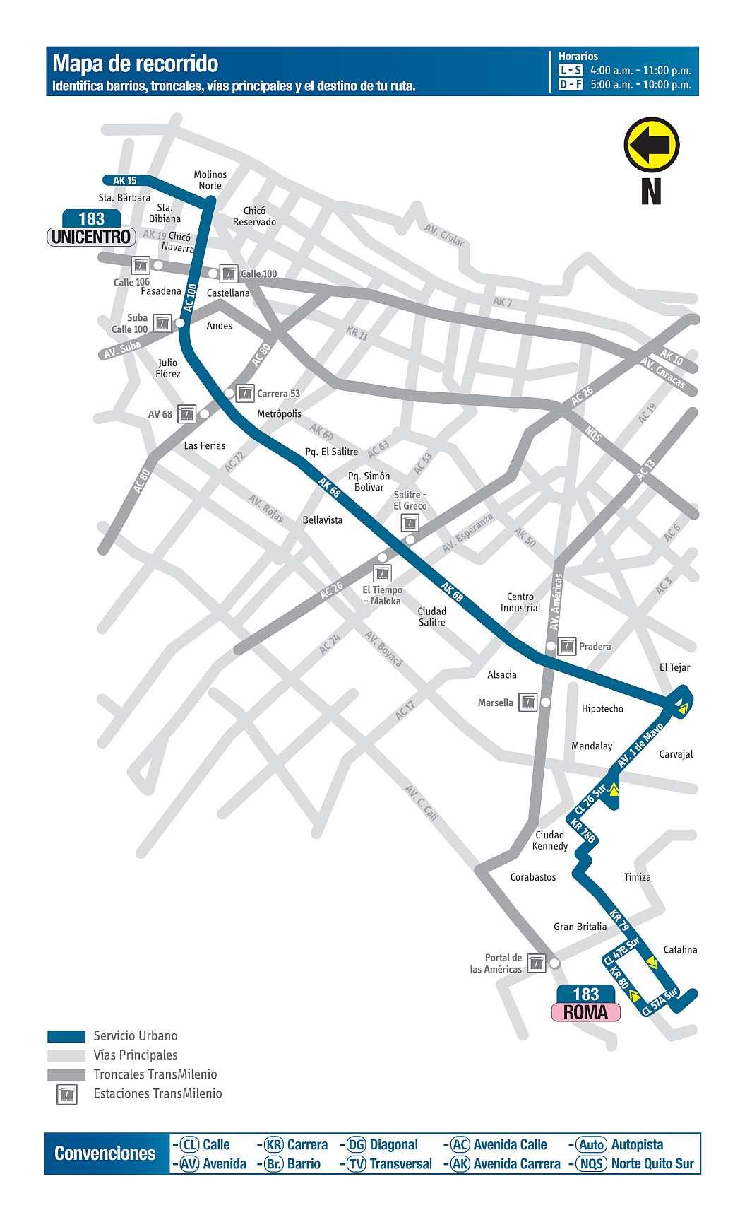 183 Roma - Unicentro, mapa bus urbano Bogotá
