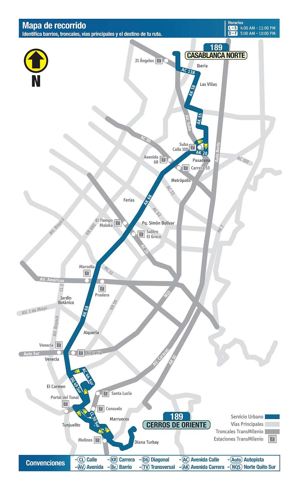 189 Cerros de Oriente - CasaBlanca Norte, mapa bus urbano Bogotá