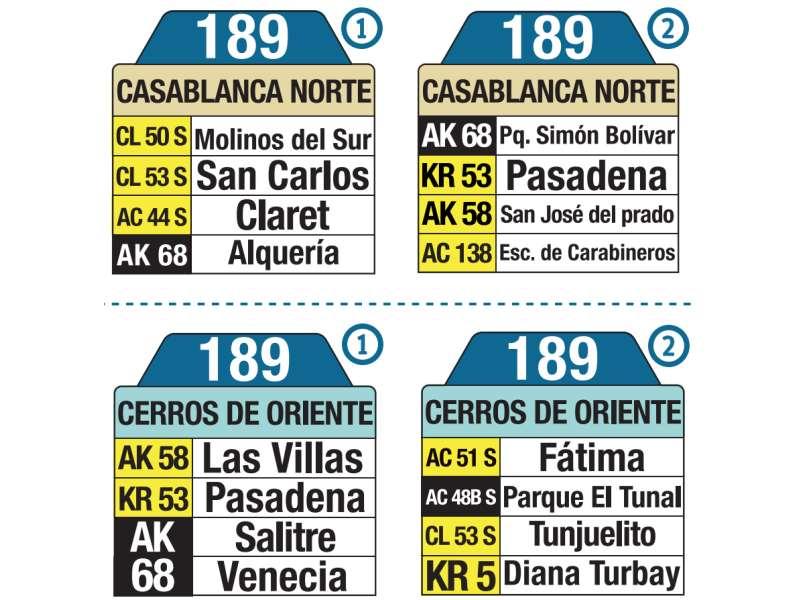 189 Cerros de Oriente - CasaBlanca Norte, letrero tabla bus del SITP