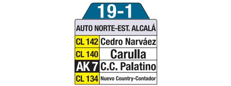 Tablas bus urbano: 19-1 Autopista Norte - Estación Alcalá