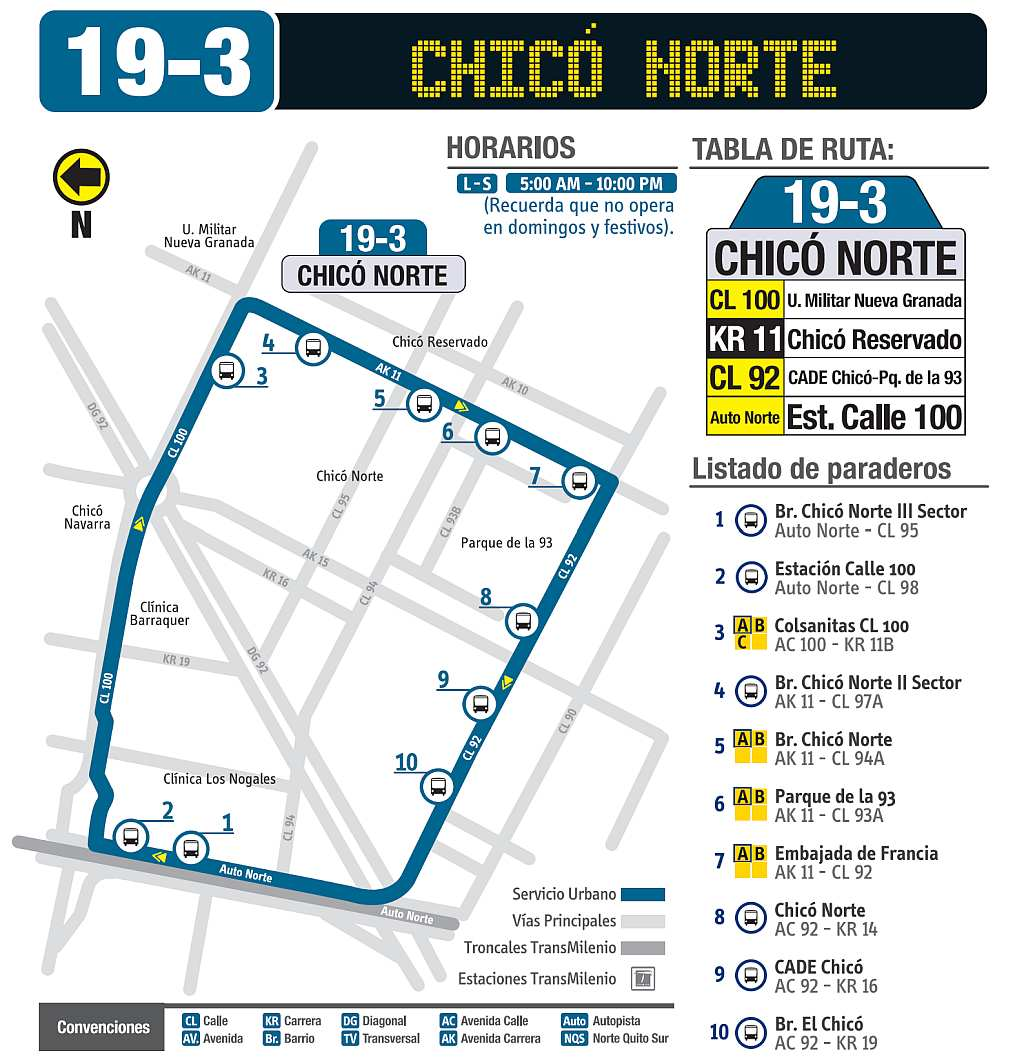 Mapa bus urbano: 19-3 Chicó Norte