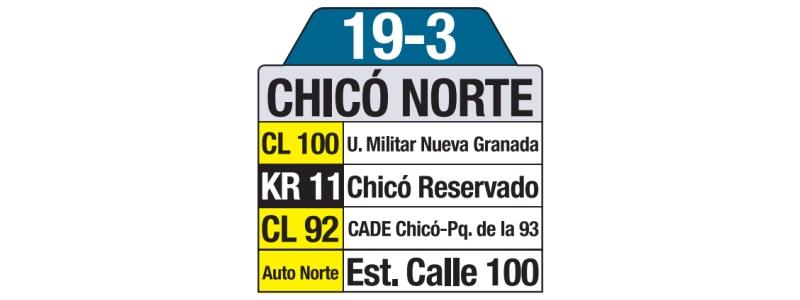 Tablas bus urbano: 19-3 Chicó Norte