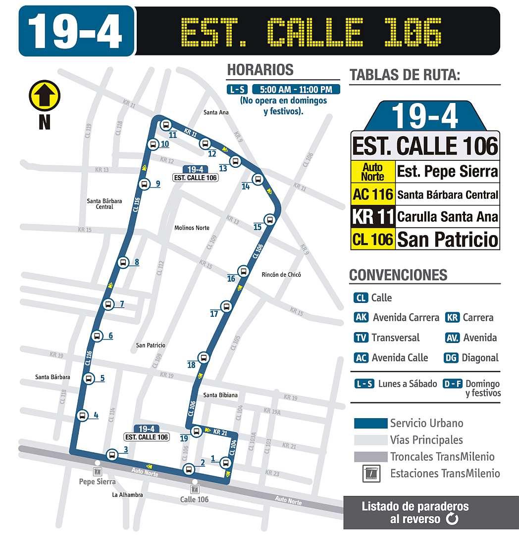 Mapa bus urbano: 19-4 Estación de Transmilenio Calle 106