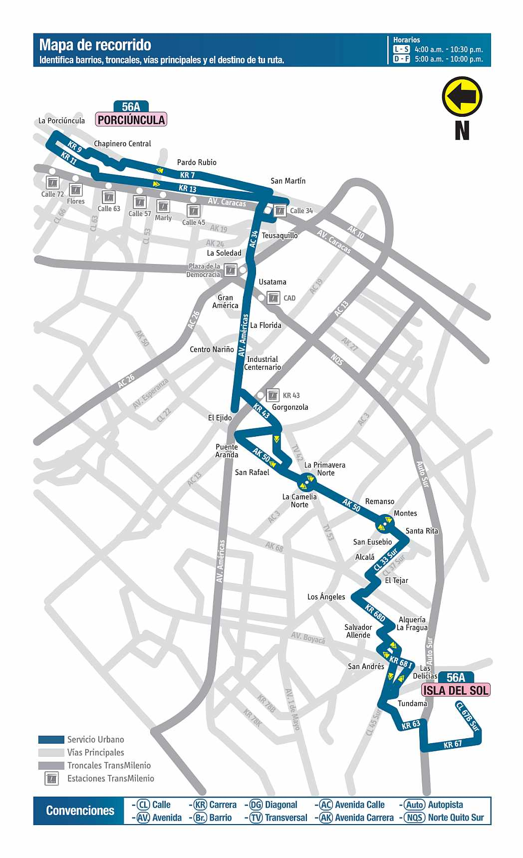 Mapa bus urbano: 56A Isla del Sol - Porciúncula