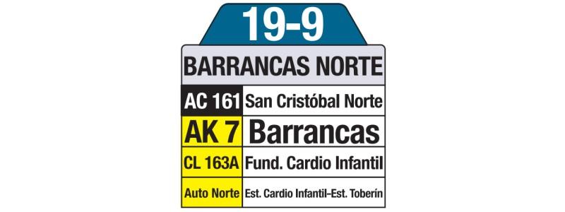 Tablas bus urbano: 19-9 Barrancas Norte