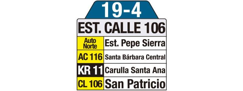 Tablas bus urbano: 19-4 Estación de Transmilenio Calle 106