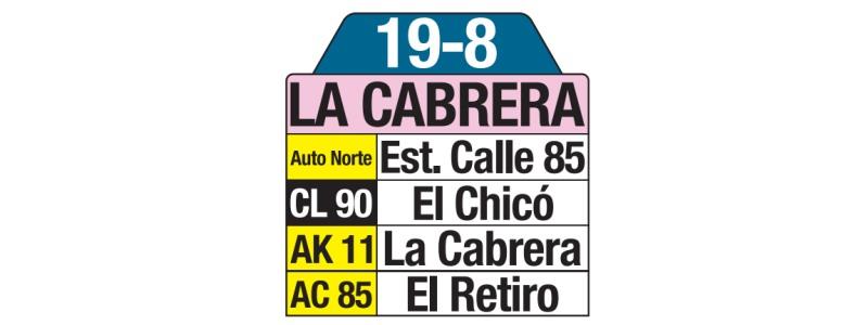 Tablas bus urbano: 19-8 La Cabrera