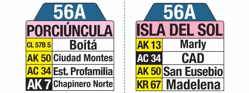 Tablas bus urbano: 56A Isla del Sol - Porciúncula