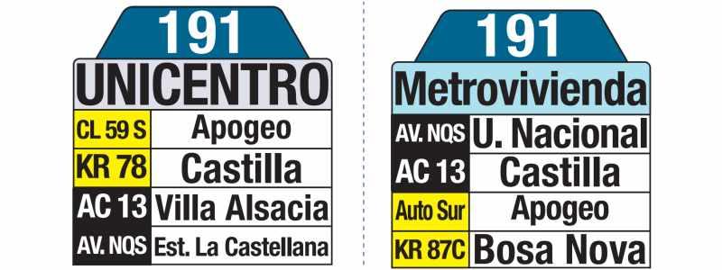 191 Unicentro - Metrovivienda, letrero tabla bus del SITP