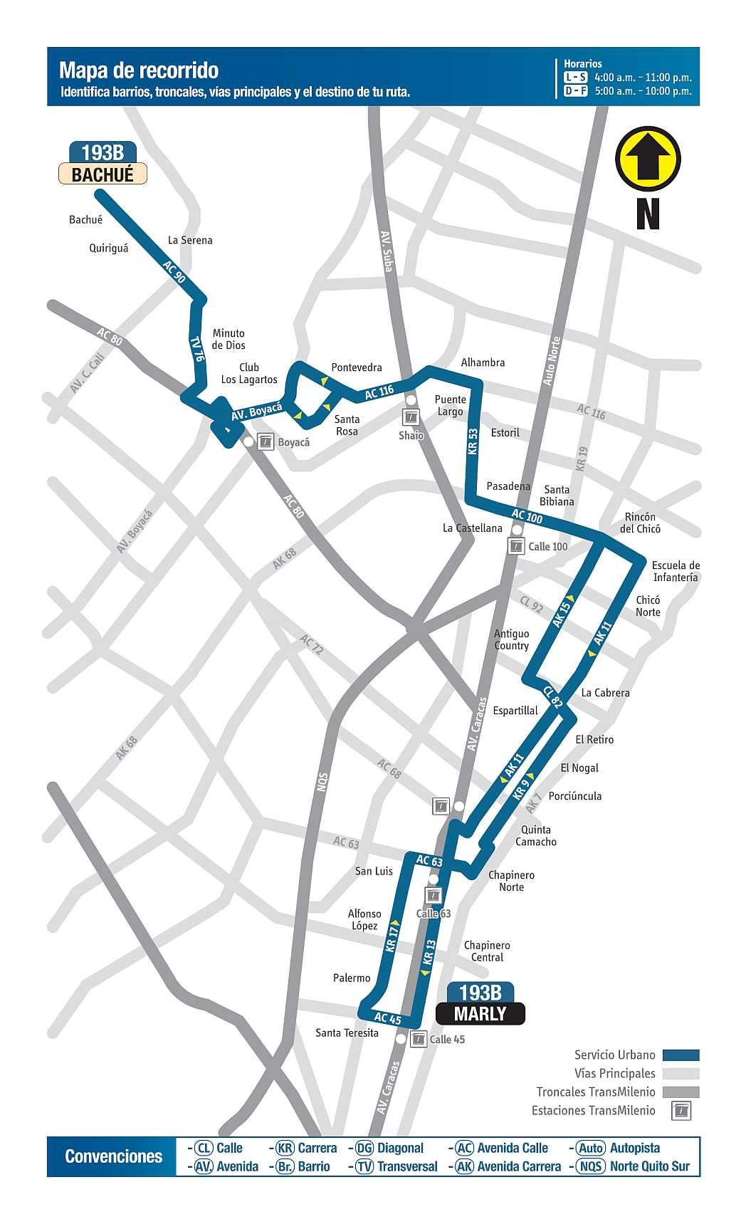 193B Bachué - Marly, mapa bus urbano Bogotá