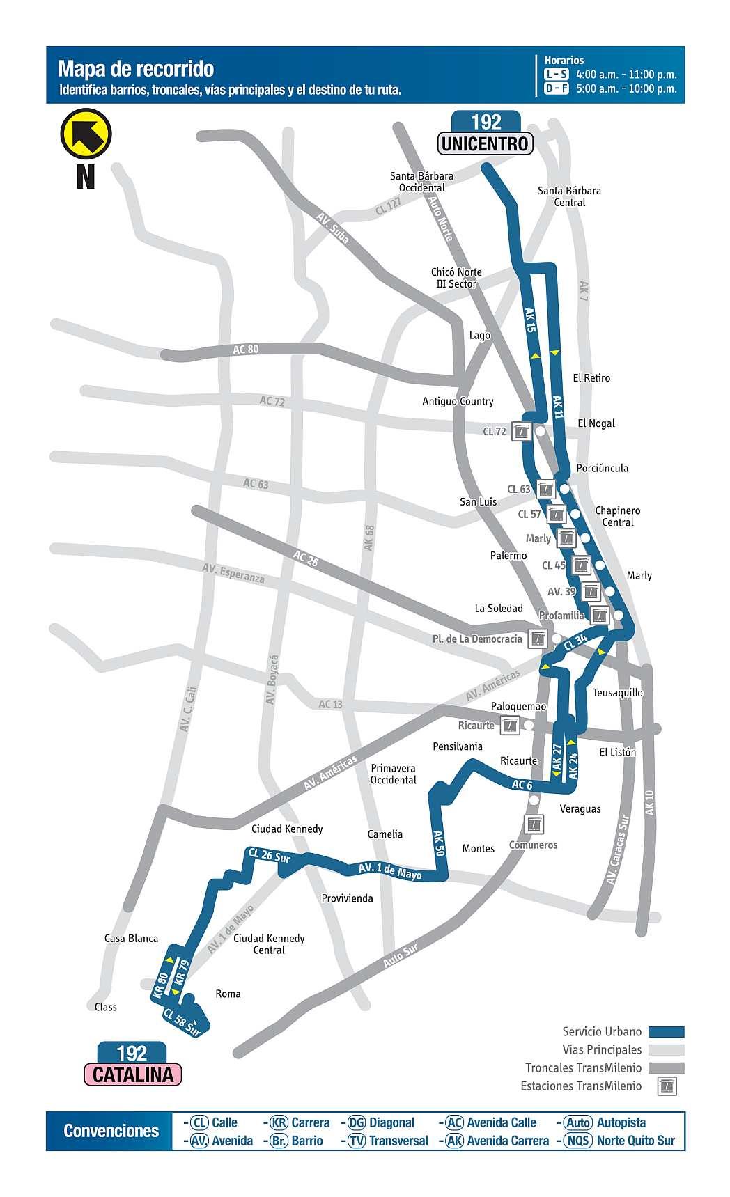 192 Catalina - Unicentro, mapa bus urbano