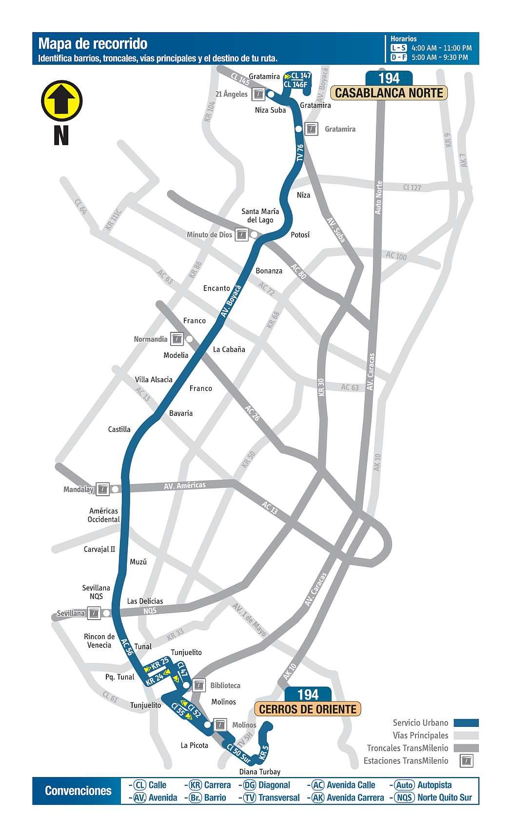 194 Casablanca Norte - Cerros de Oriente, mapa bus urbano Bogotá