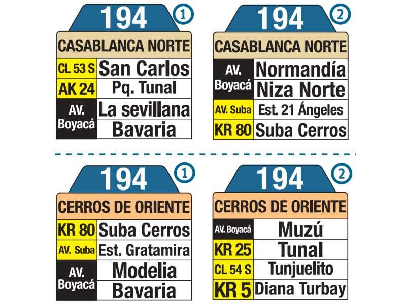 194 Casablanca Norte - Cerros de Oriente, letrero tabla bus del SITP