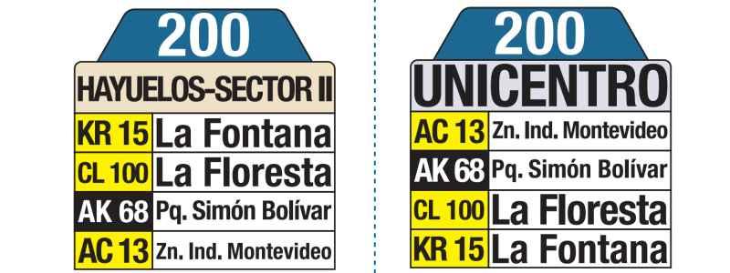 00 AV. Ciudad de Cali - Unicentro, letrero tabla bus del SITP