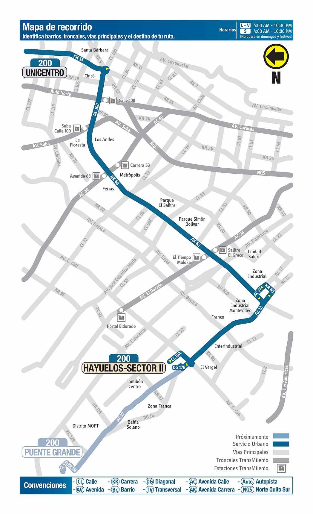 200 AV. Ciudad de Cali - Unicentro, mapa bus urbano Bogotá
