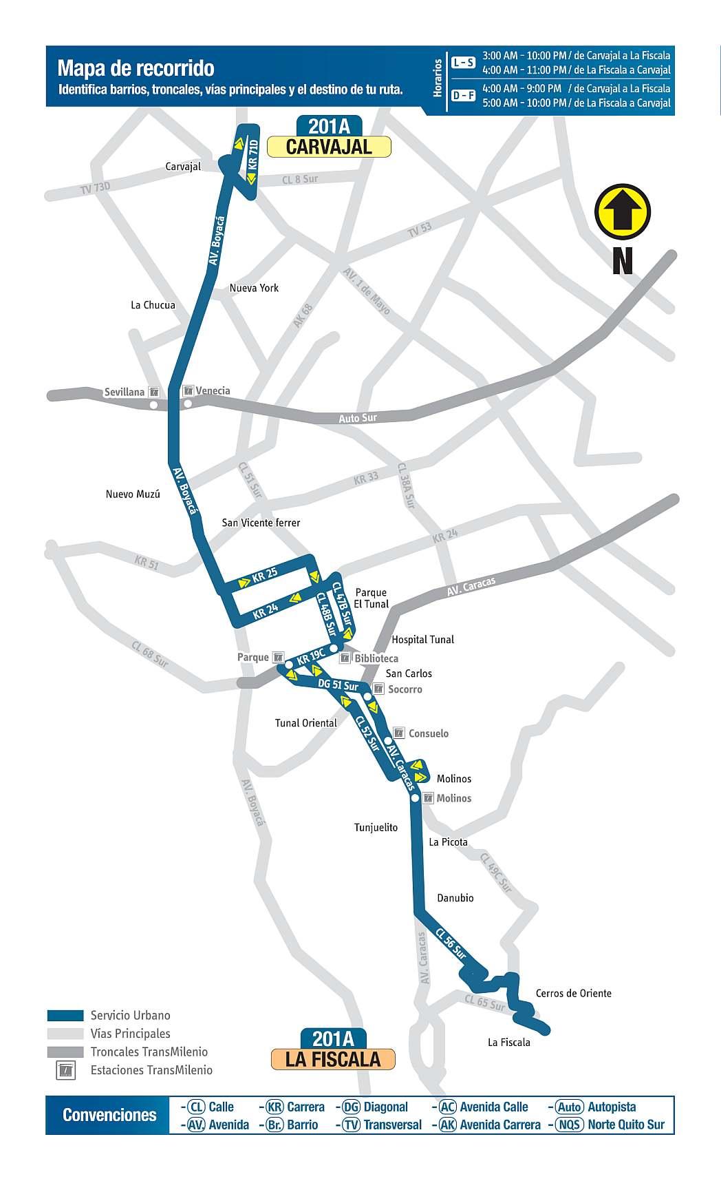 201A Carvajal - La Fiscala, mapa bus urbano Bogotá
