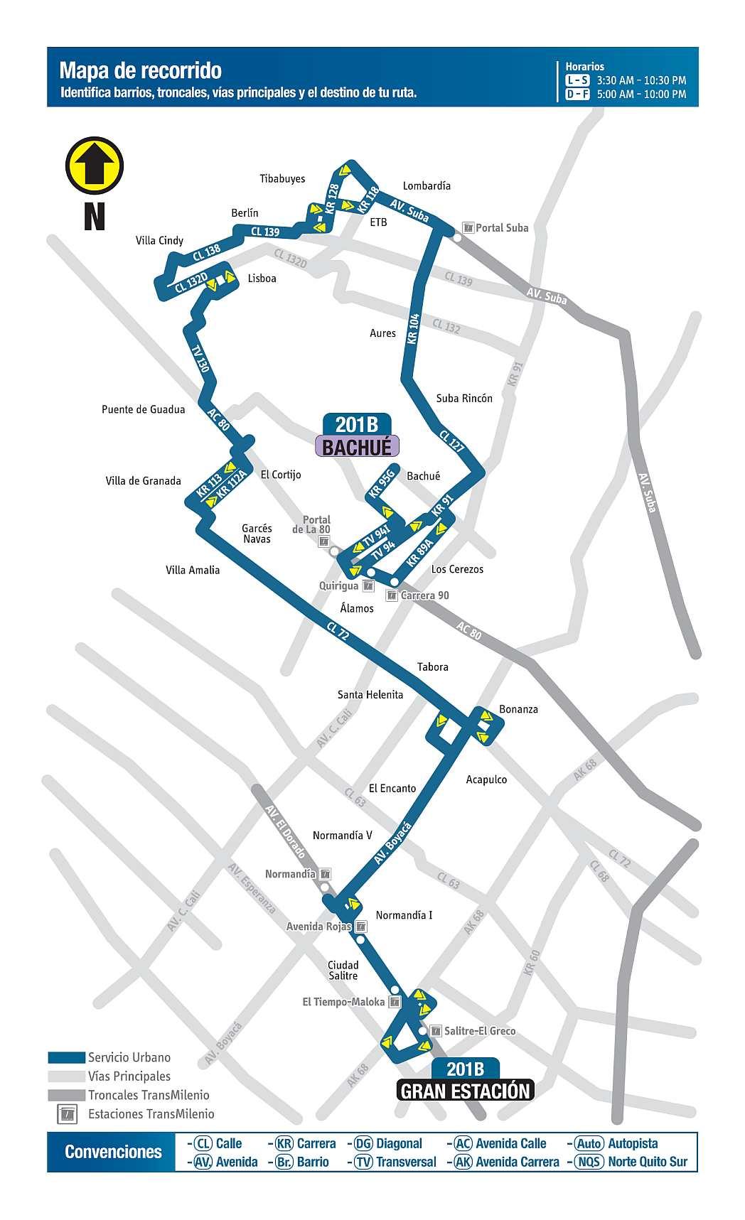 201B Bachué - Gran Estación, mapa bus urbano Bogotá