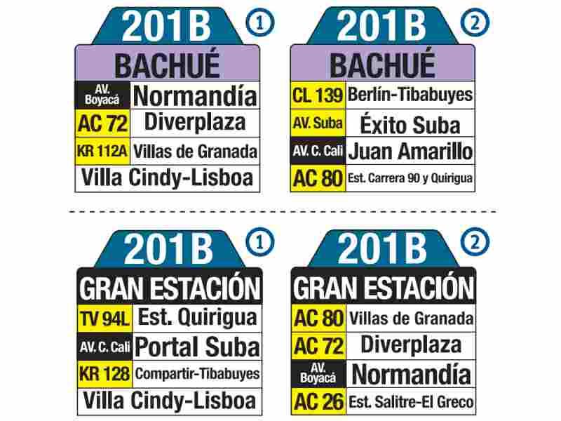 201B Bachué - Gran Estación, letrero tabla bus del SITP