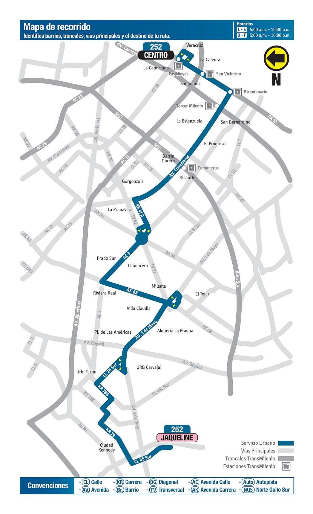 252 Jaqueline - Centro, mapa bus urbano Bogotá