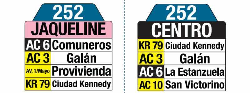 252 Jaqueline - Centro, letrero tabla bus del SITP