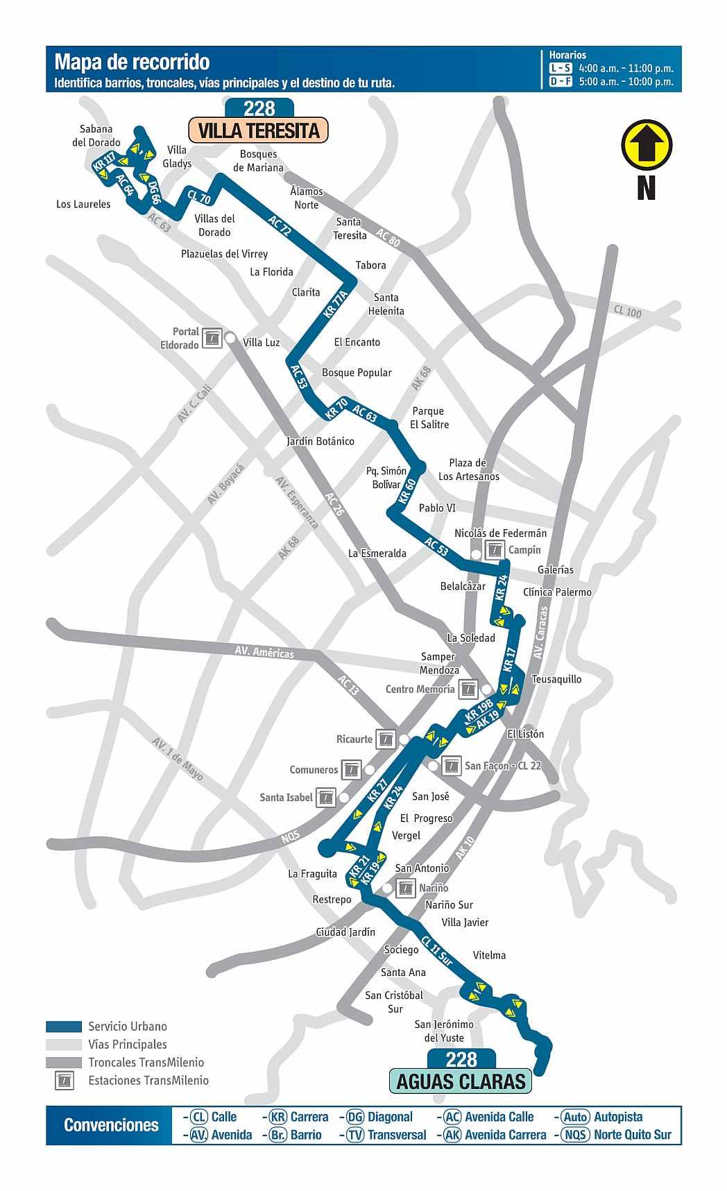 228 Villa Teresita - Aguas Claras, mapa bus urbano Bogotá
