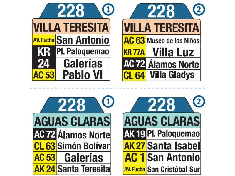 228 Villa Teresita - Aguas Claras, letrero tabla bus del SITP