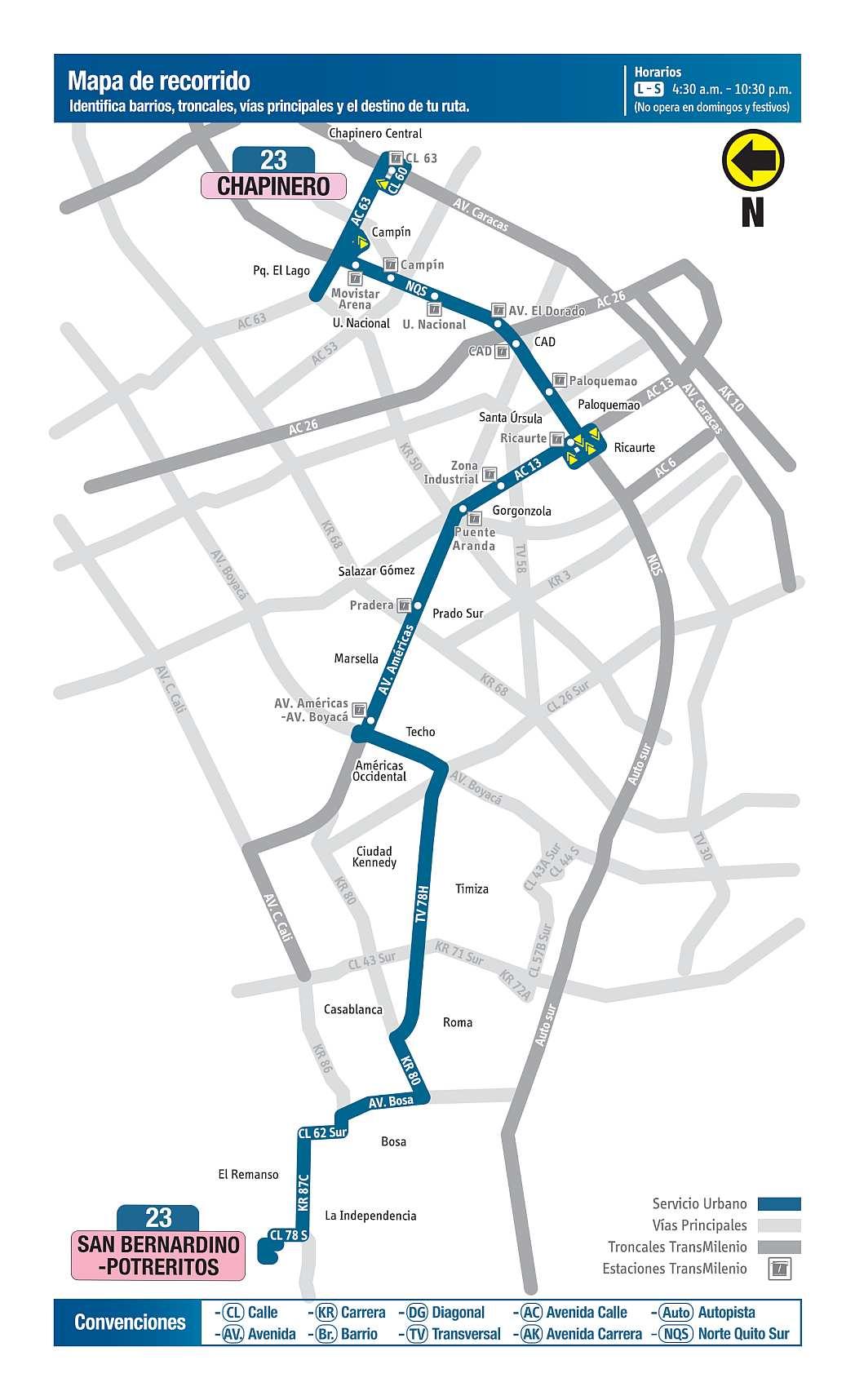 Bus urbano Bogotá - 23 San Bernardino Potreritos - Chapinero