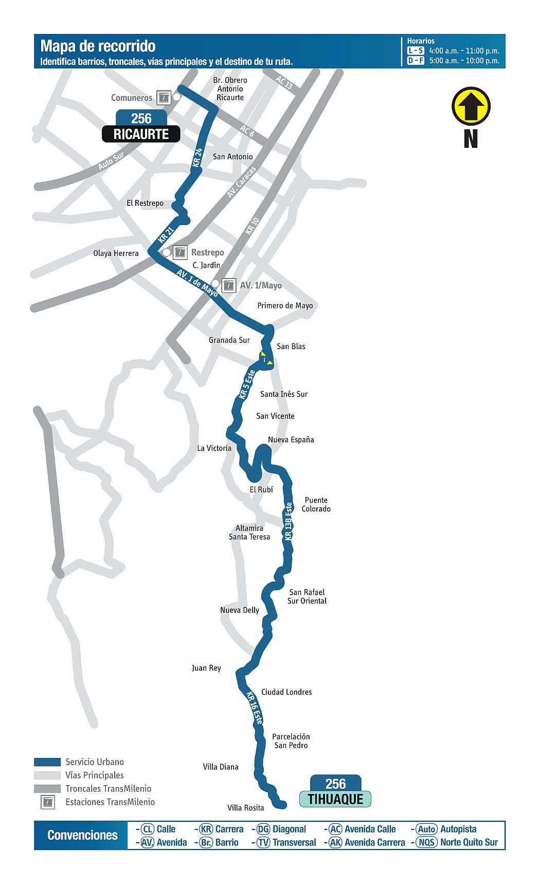 256 Ricaurte - Tihuaque, mapa bus urbano Bogotá