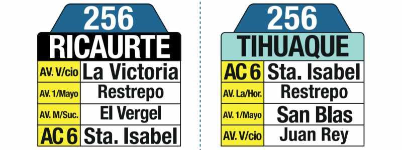 256 Ricaurte - Tihuaque, letrero tabla bus del SITP