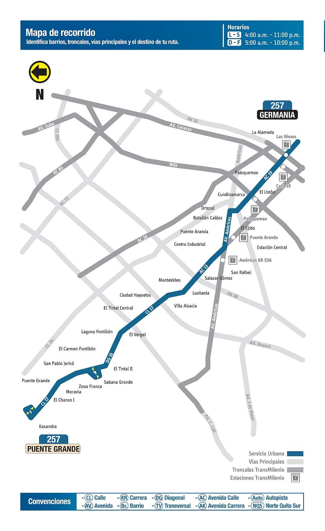 257 Germania - Puente Grande, mapa bus urbano Bogotá