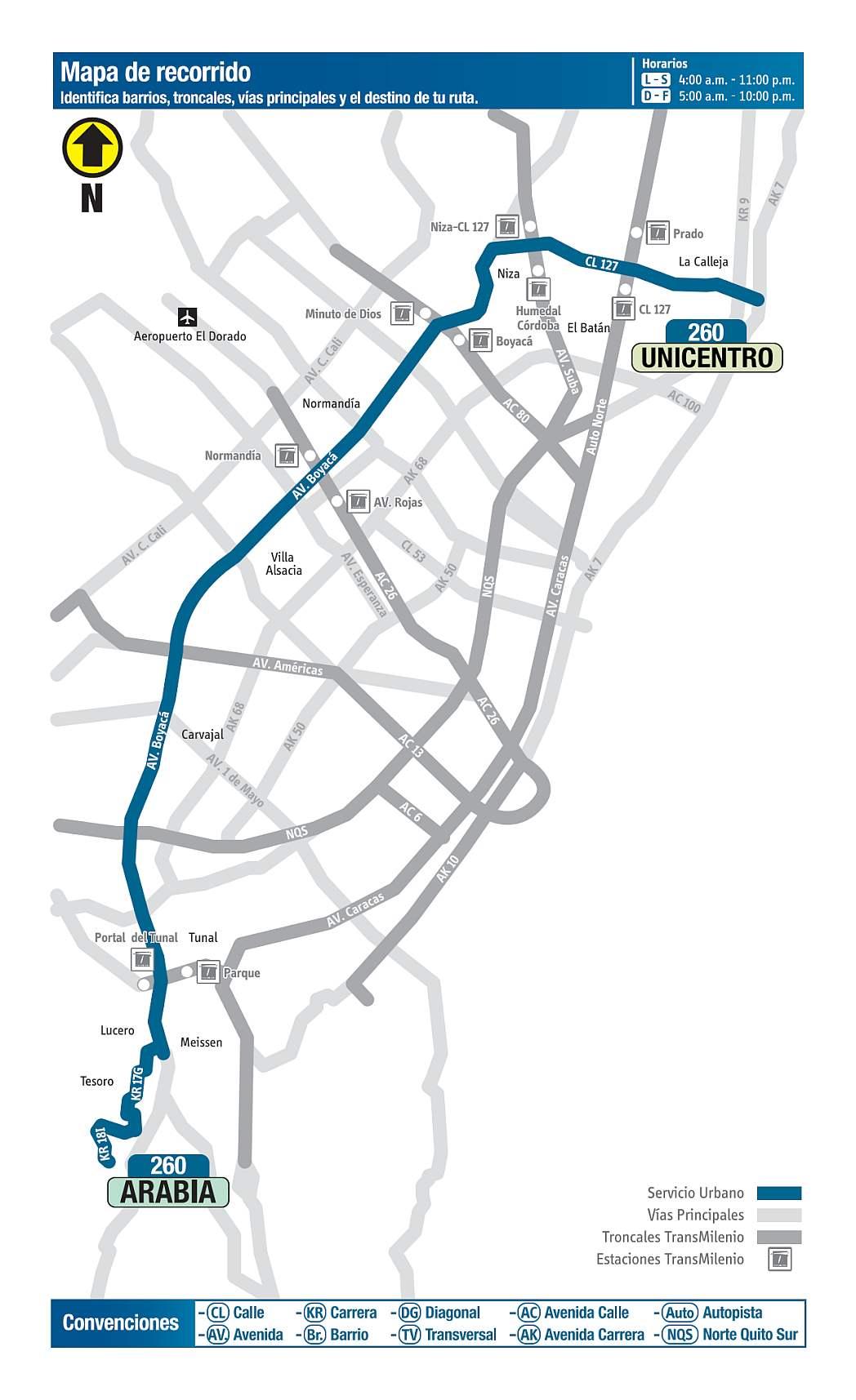 260 Arabia - Unicentro, mapa bus urbano Bogotá