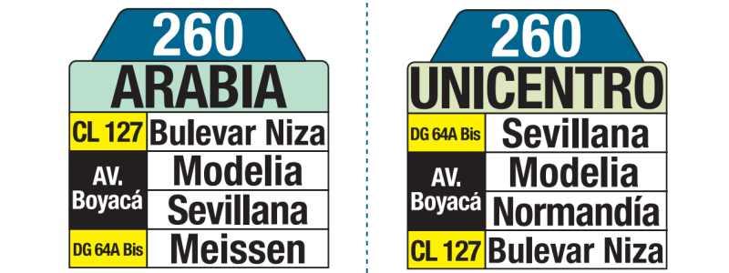 260 Arabia - Unicentro, letrero tabla bus del SITP
