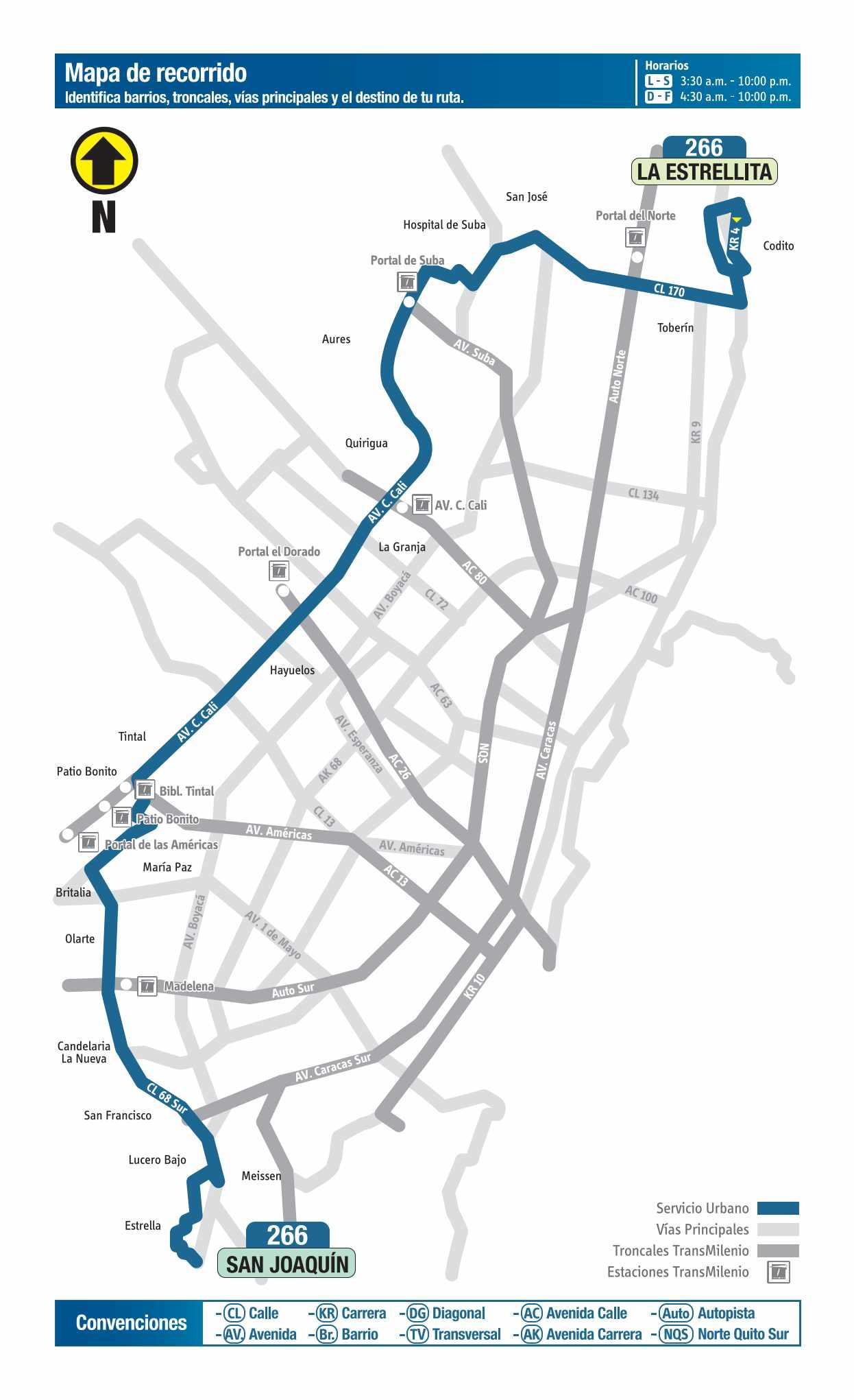 266 La Estrellita - San Joaquín, mapa bus urbano Bogotá