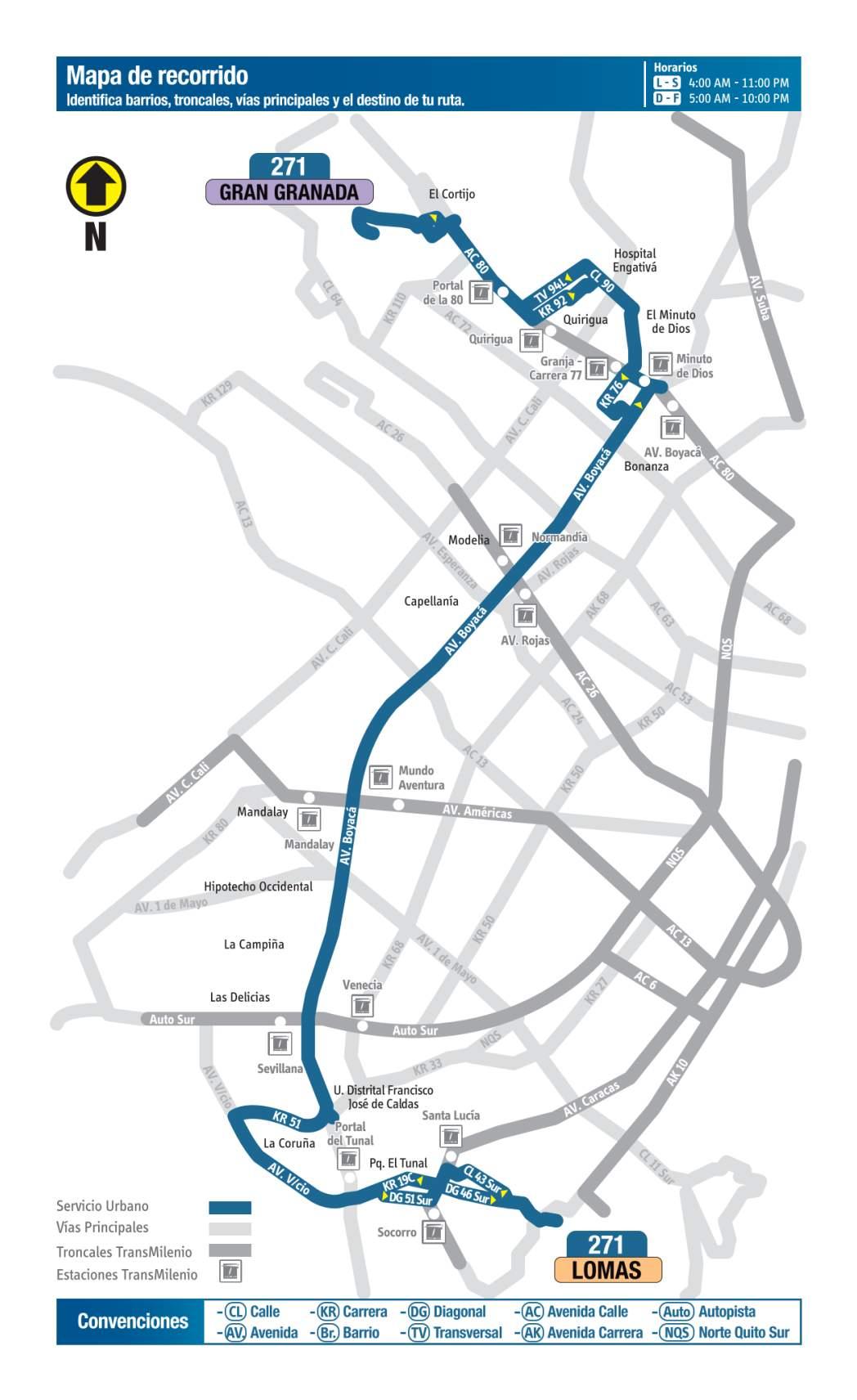 271 Gran Granada - Lomas, mapa bus urbano Bogotá
