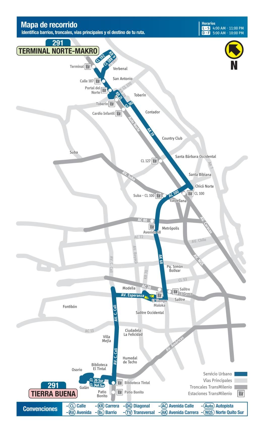 291 Terminal Norte, Makro - Tierra Buena, mapa bus urbano Bogotá