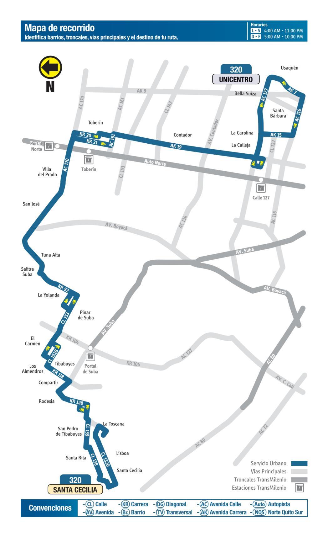 320 Unicetro - Santa Cecilia, mapa bus urbano Bogotá