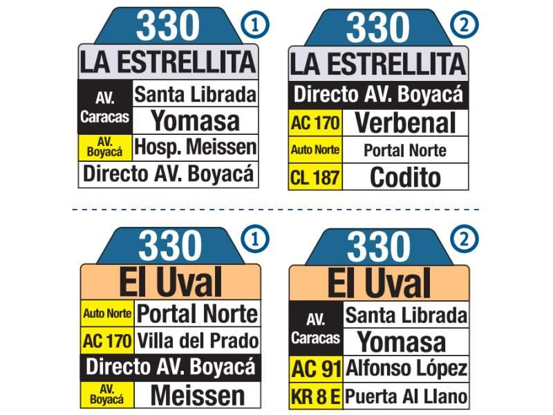330 La Estrellita - El Uval, letrero tabla bus del SITP