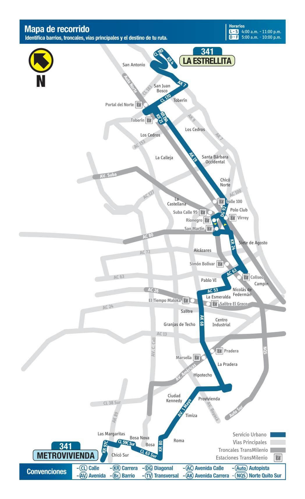 341 La Estrellita - Metrovivienda, mapa bus urbano Bogotá