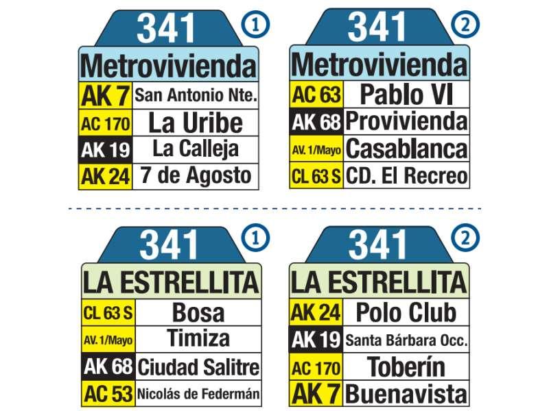 341 La Estrellita - Metrovivienda, letrero tabla bus del SITP