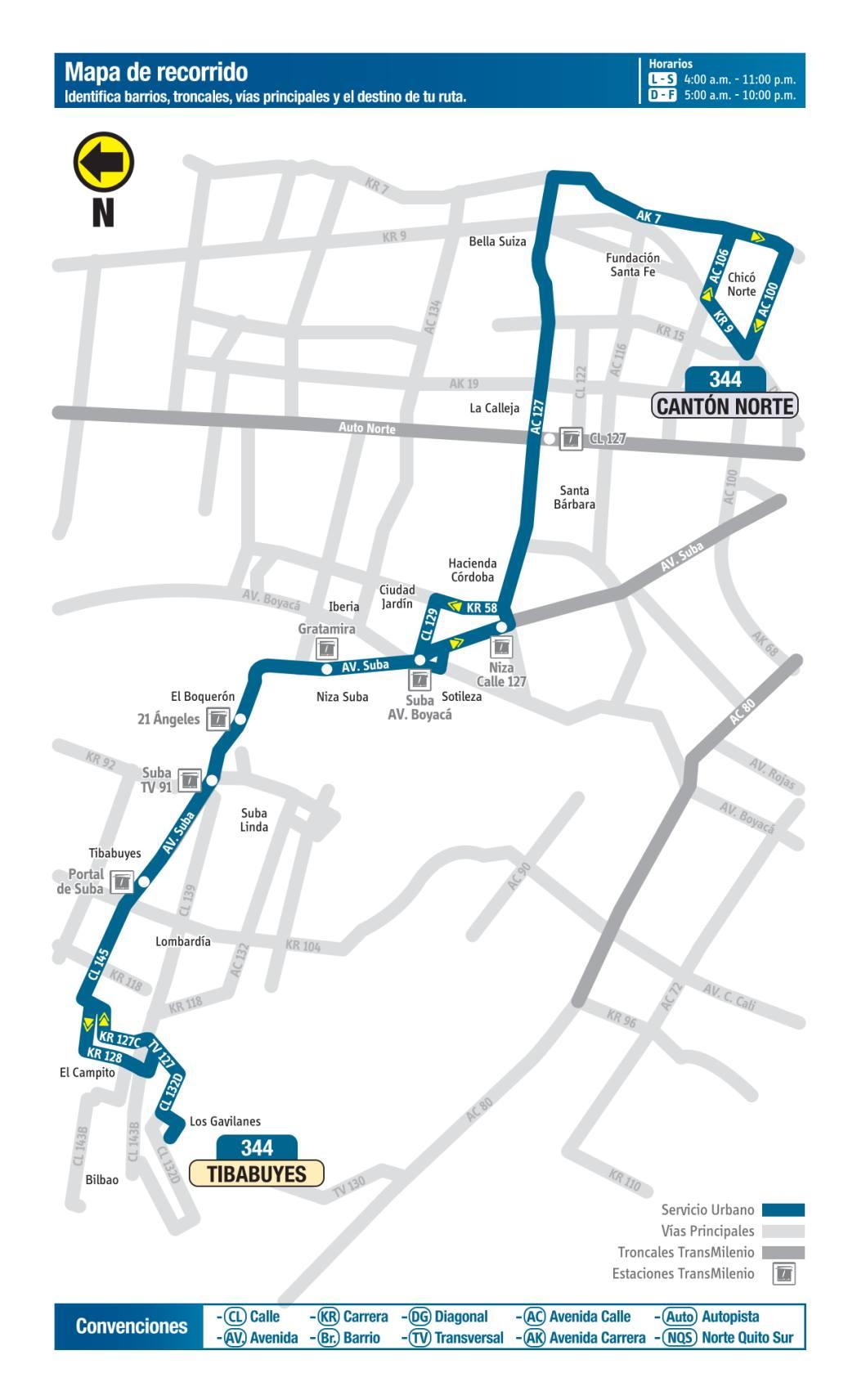 344 Tibabuyes - Cantón Norte, mapa bus urbano Bogotá