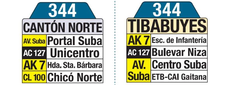 344 Tibabuyes - Cantón Norte, letrero tabla bus del SITP