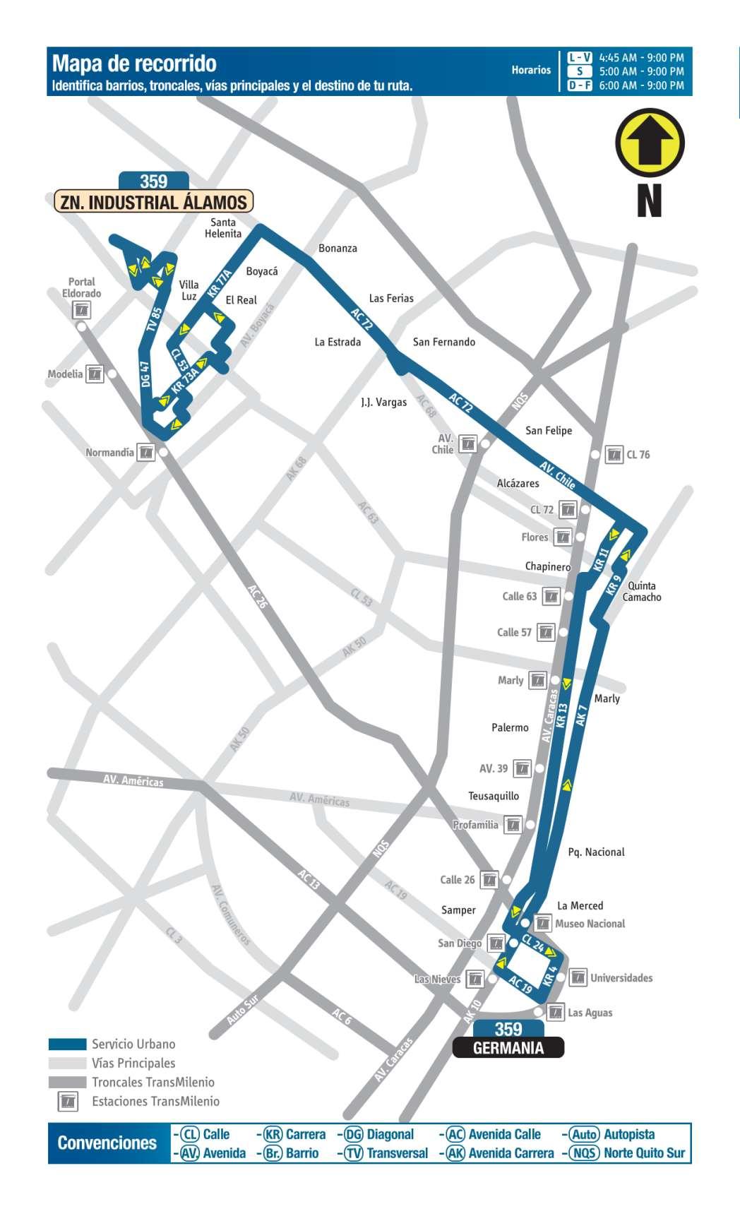 359 Germania - Zona Industrial Álamos, mapa bus urbano Bogotá