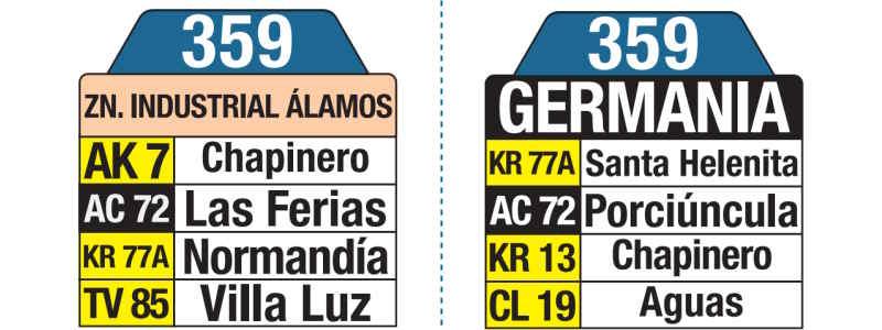 359 Germania - Zona Industrial Álamos, letrero tabla bus del SITP