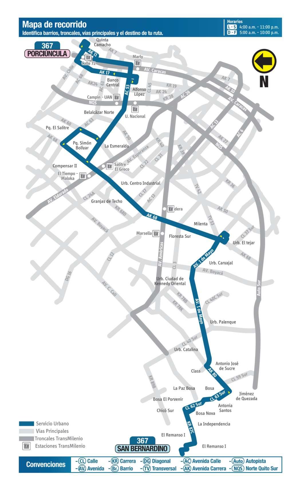 367 Porciúncula - San Bernardino, mapa bus urbano Bogotá