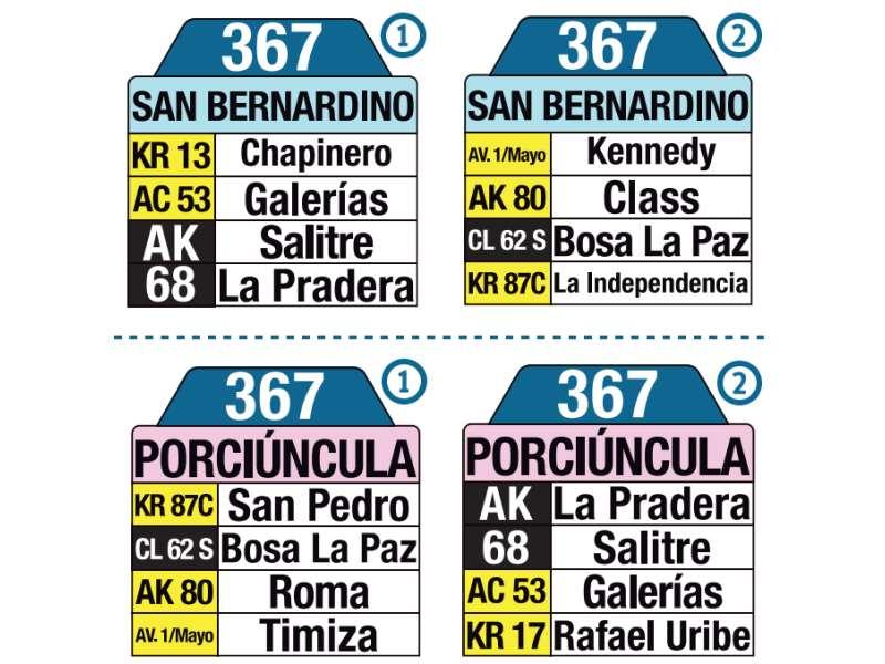 367 Porciúncula - San Bernardino, letrero tabla bus del SITP