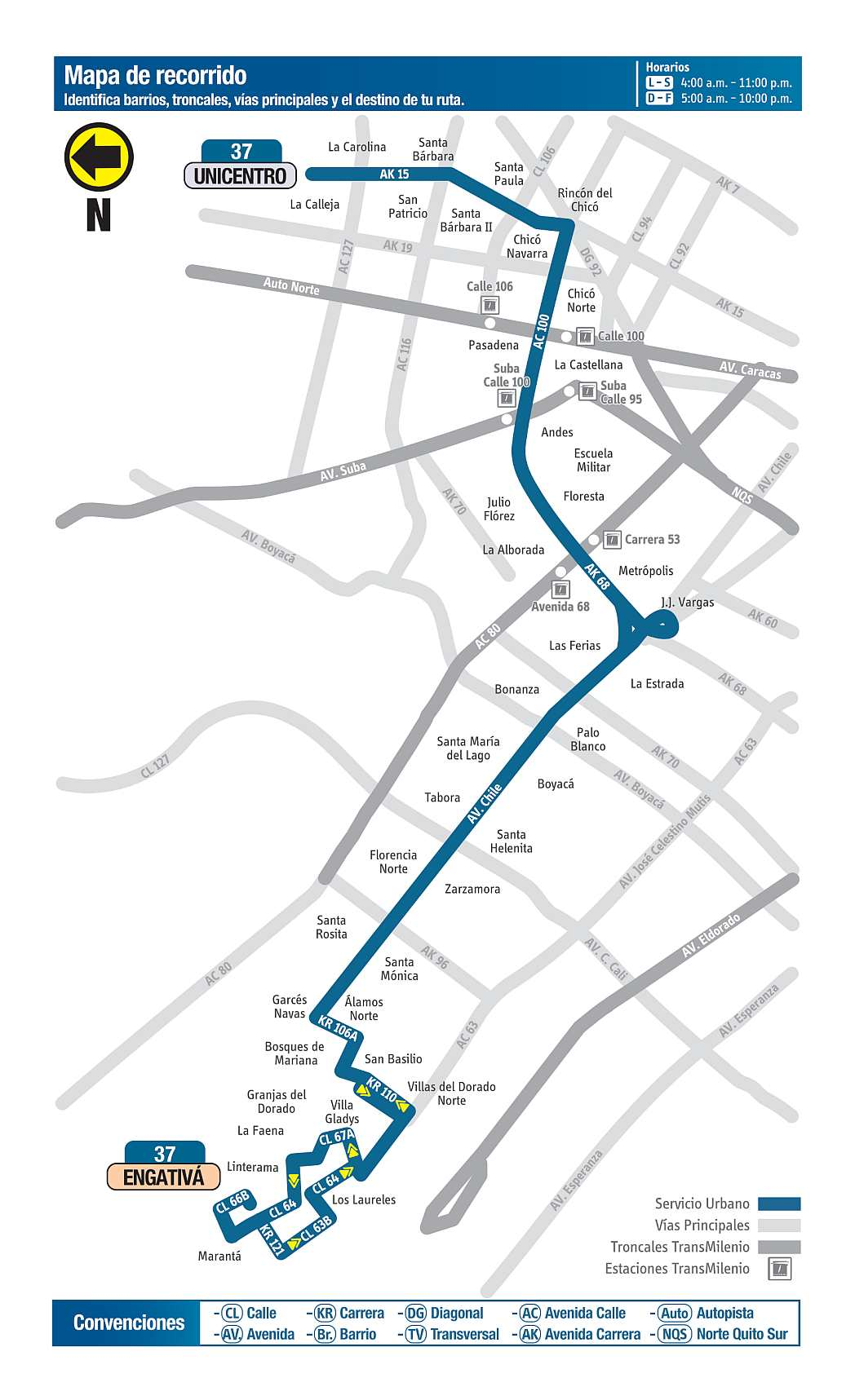 Mapa bus urbano Bogotá: 37 Unicentro - Engativá