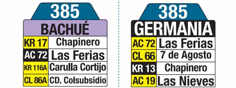 385 Bachué - Germania, letrero tabla bus del SITP