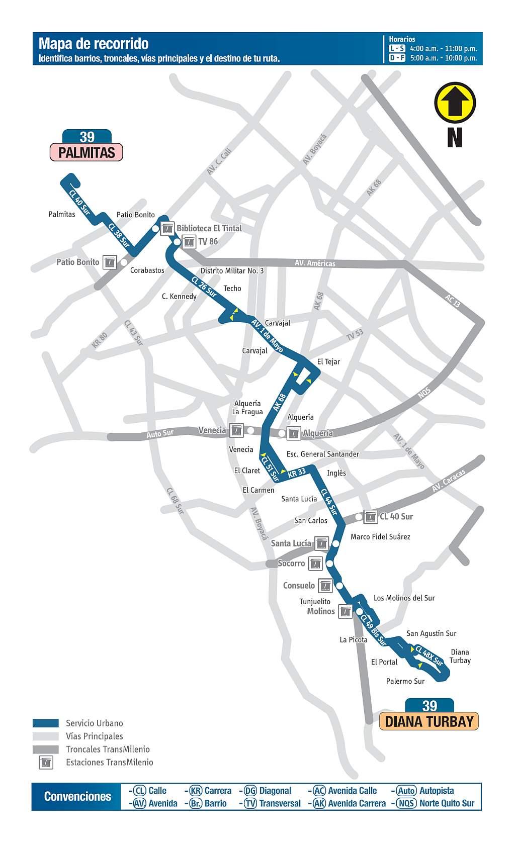 Mapa bus urbano Bogotá: 39 Diana Turbay - Palmitas