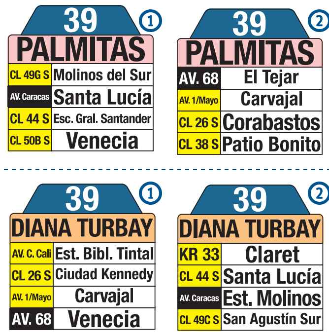 Tablas bus urbano Bogotá: 39 Diana Turbay - Palmitas