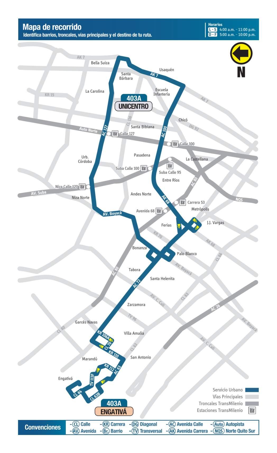 403A Engativá - Unicentro, mapa bus urbano Bogotá